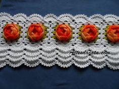 Bico em croche - 80 - YouTube Crochet Cushion Pattern, Crochet Lace Edging, Crochet Cushions, Crochet Squares, Crochet Shawl, Crochet Flowers, Crochet Patterns, Crochet Kitchen, Crochet Home