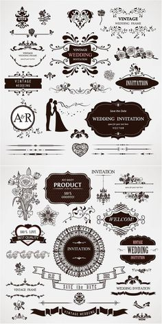 Wedding decor (frames, dividers, tape, silhouettes of bride and groom, flower bouquets, floral swirls) for invitation cards and decorations. Free download.