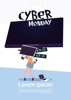 Cyber monday sale poster with woman holding big tv plasma over white background, template banner. Download it at freepik.com! #Freepik #vector #background #banner #poster #christmas Background Banner, Vector Background, Camera Application, Film Reels, Drilling Rig, Cyber Monday Sales, Tv Ads, Hipster Outfits, Sale Banner