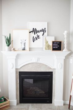 styling a fireplace mantel in three easy steps // how to style a white fireplace mantel // decor ideas for a fireplace mantel // fireplace mantel home decor pieces // artwork for above a fireplace Above Fireplace Decor, White Fireplace Mantels, Fireplace Design, Brick Fireplace, Mantle, Pinterest Home, Home Decor Hacks, Fashion Room, Dream Decor