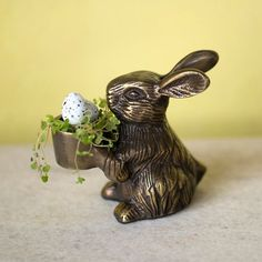 BUNNY TAPER HOLDER ~ Set the table for a cheerful Easter with this sweet holder for taper candles, or use for a tiny mini garden as shown. Designed exclusively for Terrain.