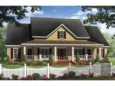 Country House Plan with 2336 Square Feet and 4 Bedrooms from Dream Home Source | House Plan Code DHSW66537