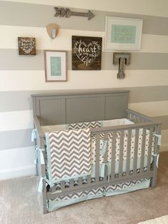 Gray and blue nursery, airy nursery, nursery gallery wall, nursery on a budget, stripped nursery wall