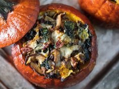 Thanksgiving Stuffed Roast Pumpkins Recipe Move over, tofurkey: These stuffed roast pumpkins give vegetarians a main course worthy of a place at the Thanksgiving table. Thanksgiving Recipes, Fall Recipes, Thanksgiving Table, Tofurkey Thanksgiving, Vegetarian Thanksgiving Main Dish, Thanksgiving Stuffing, Party Recipes, Quick Recipes, Recipes Dinner