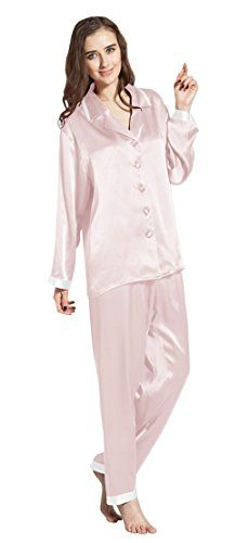 ac8c1a70f3 LILYSILK(TM) Women s Long Silk Pajamas Set Gold Cuff 22 Momme Pure Silk  Light