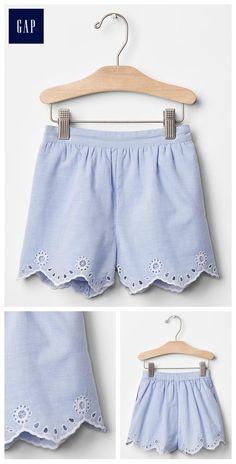 Scallop eyelet culotte shorts