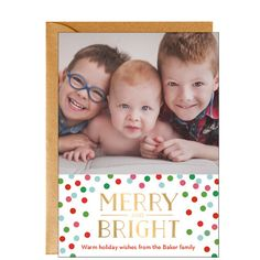 Gold Foil Stamped Merry Bright Vertical Holiday Photo Card
