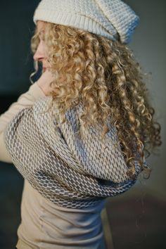 Brown / white / gray textured knit 'baby alpaca' hat / by Ingugu