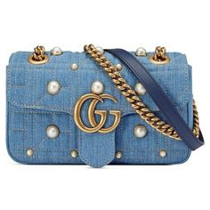 Women's Gucci Gg Marmont 2.0 Imitation Pearl Embellished Denim... ($2,100) ❤ liked on Polyvore featuring bags, handbags, shoulder bags, denim blue, gucci handbags, gucci shoulder bag, gucci purse, blue purse and blue crossbody