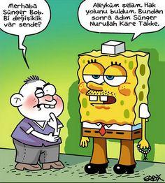 Sünger Nurullah Kare Takke.. Funny Images, Funny Pictures, Dark Memes, Spongebob Memes, Best Memes, Caricature, Geek Stuff, Lol, Cartoon