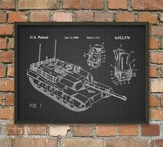 M1 Abrams Tank Turret Patent Print  US Army Main by QuantumPrints