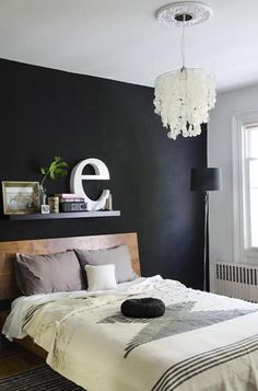Buoyant Brooklyn / Shyama Golden house tour- black bedroom wall (like the bedspread) Black Accent Walls, Black Walls, White Walls, Home Bedroom, Bedroom Decor, Bedroom Lighting, Bedroom Ideas, Wall Decor, Accent Wall Bedroom