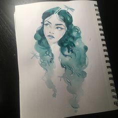 #illustration #ayadevin #art #watercolor #girldrawing #sketch #green