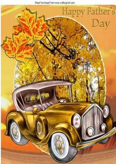 Autumn run lovely vintage car with leaves for fathers day A4 on Craftsuprint - Add To Basket!