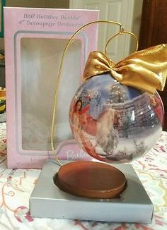 "1997 Holiday Barbie 4"" Decoupage Christmas Ornament with Wooden Ornament Stand"