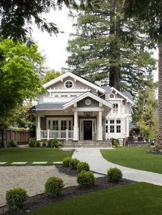 This craftsman style exterior is gorgeous. Love the stone stairs. #gray
