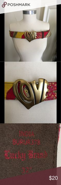 """Lucky Brand belt EUC belt. Slight discolor to where the yellow patch part is in the front of belt. Could be cleaned. No trades. Open to reasonable offers 32"""" Lucky Brand Accessories Belts"""