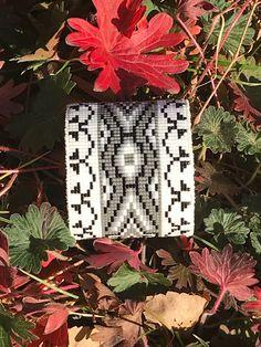 OOAK Navajo Blanket Bracelet Collection - White, Black, and Grey. Loom Bracelet Patterns, Loom Bracelets, Beaded Belts, Eagle Design, Beaded Cuff Bracelet, Loom Beading, Beadwork, Navajo, White Leather
