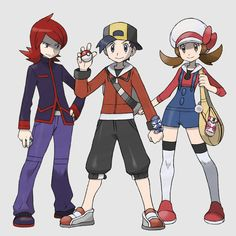 Main Characters from Pokemon Soul silver/ Heart gold Pokemon W, Pokemon Photo, Gold Pokemon, Pokemon Fan Art, Pokemon Trainer Outfits, Hinata, Charmander Charmeleon Charizard, Pokemon Game Characters, Character Art