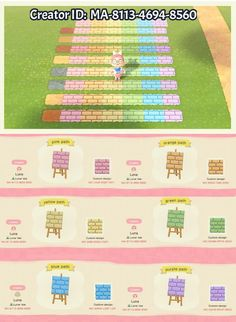 animal crossing qr codes paths pathways Heres some brick paths in lots of colors I made! Animal Crossing 3ds, Animal Crossing Qr Codes Clothes, Design House Stockholm, Motif Acnl, Brick Path, Ac New Leaf, Motifs Animal, Path Design, Island Design