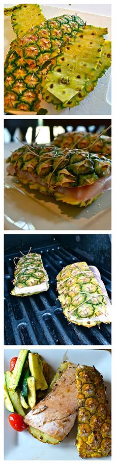 Use pinapple skins as planks to grill fish on -what a creative and tasty way to . Use pinapple skins as planks to grill fish on -what a creative and tasty way to grill fish! Seafood Dishes, Seafood Recipes, Cooking Recipes, Healthy Recipes, Cooking Icon, Grilled Fish Recipes, Halibut Recipes, Grilled Fruit, Salmon Dishes