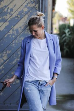 tifmys – Zara bright blue coat, Comme des Garcons shirt, H&M Boyfriend jeans.