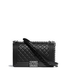 Discover the CHANEL Calfskin & Ruthenium-Finish Metal Black BOY CHANEL Handbag, and explore the artistry and craftsmanship of the House of CHANEL.