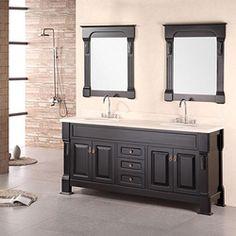 Design Element Marcos Solid Wood Double Sink Bathroom Vanity*Single framed mirror instead