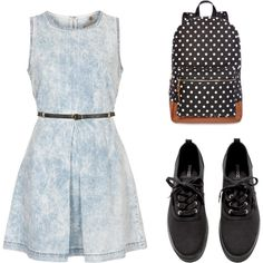 A fashion look from March 2015 featuring Topshop dresses, H&M sneakers and Olsenboye backpacks. Browse and shop related looks.