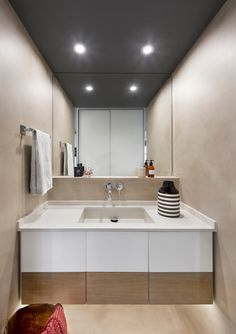 Apartment in Barcelona by Egue Y Seta « HomeAdore Zara Home, Lofts, Studio Apartment Storage, Loft Studio, Contemporary Bathrooms, Amazing Bathrooms, Bathroom Accessories, Double Vanity, Storage Spaces