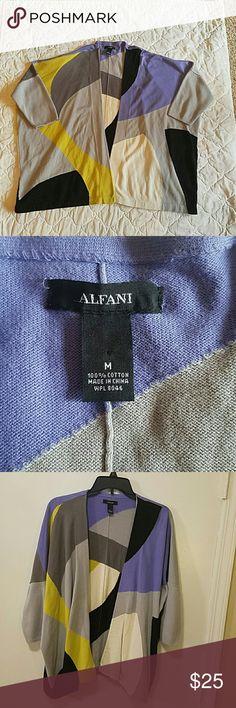 "Alfani Cardigen Size Medium.  Block colors.  2 shades gray, black, cream, lime green.  EUC. Length 26 1/2"" Armpit to armpit  31"" Hangs open and loose in front. Alfani Sweaters Cardigans"