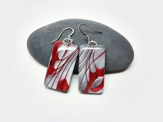 Red silver and black earrings geometric by AquascentCreations Black Earrings, Unique Earrings, Women's Earrings, Polymer Clay Earrings, Take That, Silver, Red, Etsy, Black Stud Earrings
