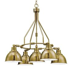 Hammered Metal Kitchen Chandelier 5 Light
