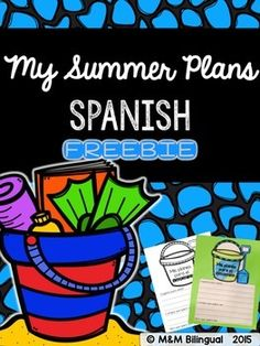 """FREEBIE My Summer Plans in Spanish!!! """"Mis planes de verano""""A fun twist of the popular 3-2-1 graphic organizer. Students will fill out the writing section answering about their summer plans. Then, they will color and cut. Finally, paste on colored tag to make their writing stand out!"""
