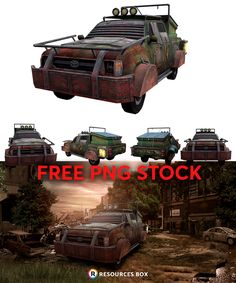 A free pack of an apocalyptic vehicle for your manipulation projects.  #zombie #wasteland #apocalyptic #conceptart #vehicle Free Logo Templates, Lens Flare, Photoshop Brushes, Photo Manipulation, Free Stock Photos, Free Design, Concept Art, Vehicle, Projects