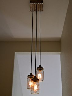 Handcrafted Mason Jar Pendant Chandelier W Rustic Vintage Style Wood Crate Canopy 3