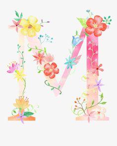 Watercolor Lettering, Floral Watercolor, Creative Lettering, Hand Lettering, Flamingo Rosa, Alphabet Wallpaper, Monogram Wallpaper, Flower Letters, Letter Art
