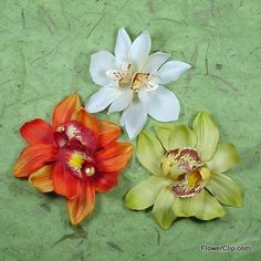 Double orchid flower hair clips.