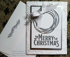 Silver & White = Elegant! Using Stampin' Up! Swirly Scribbles & Pretty Pines Thinlits with Holly Textured Impressions Embossing Folder