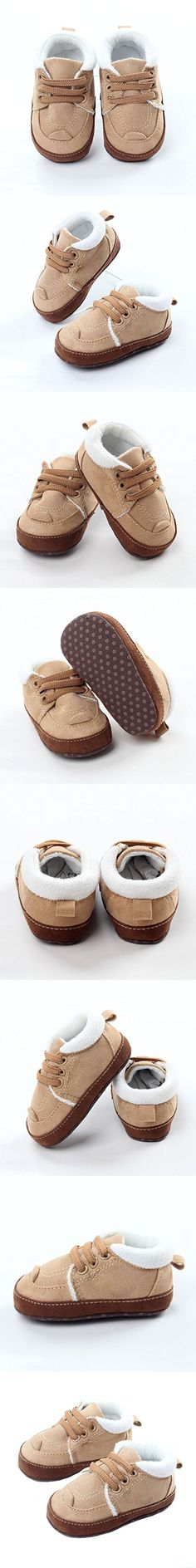 Baby Boy Fur Lined Loafers Flats Shoes Anti-slip Walkers Soft Sole Walking Shoes Khaki Size S