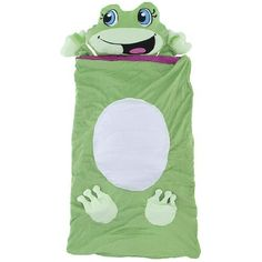 """Frog 3d Sleeping Bag for Kids by AME Sleepwear. $29.99. It is best for children ages 2 to 7. This sleeping bag is intended for use indoors. It measures 27""""x 44"""". Kids love napping in this fun 3D sleeping bag. Boys and girls will love taking a nap in this green frog sleeping bag. This is perfect for bedtime or nap time! The plush, pillow is attached to the bag. The sleeping bag neatly rolls up and fastens with Velcro when not in use."""