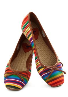 Oh more rainbow flats!    Textile Message Me Flat - Multi, Stripes, Bows, Flat, Casual