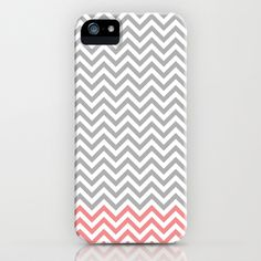 Grey, Coral and White Chevron iPhone & iPod Case by Pen Creations - $35.00