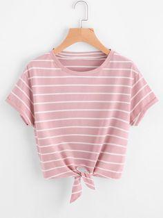 DIDK T shirts Women 2017 Summer Knot Front Cuffed Sleeve Striped Tee Pink Short Sleeve Casual Womens Tee Shirts Girls Fashion Clothes, Teen Fashion Outfits, Trendy Outfits, Girl Outfits, Women's Fashion, Fashion Ideas, Fashion Dresses, Fashion Trends, Knit Shirt