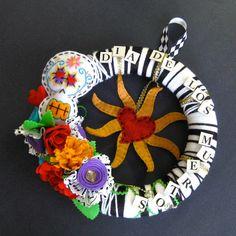 SALE Yarn Wreath - Dia de los Muertos - sugar skull - day of the dead. $35.00, via Etsy.