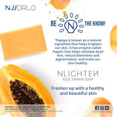 Papaya is known as a natural ingredient that helps brighten our skin. It has enzyme called Papain that helps exfoliate dead skin, reduce blemishes and pigmentation and make our skin healthy. Best Anti Aging, Anti Aging Cream, Papaya For Skin, Papaya Soap, Pimple Marks, Beauty Regimen, Bright Skin, Skin Brightening, Dead Skin