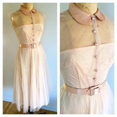 1950's Tulle Dress / Pink Flare Party Dress by GoodSoulVintageMI