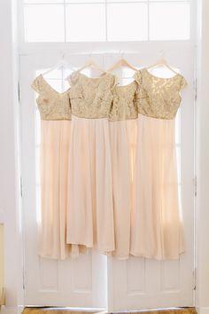 gold and pink bridesmaids' dresses, photo by Carmen & Ingo http://ruffledblog.com/german-barn-wedding #bridesmaids #bridesmaiddresses