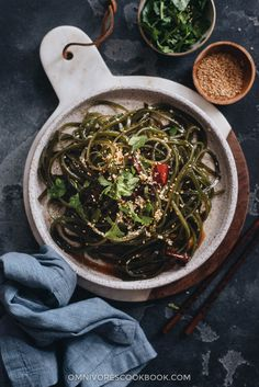 Chinese Seaweed Salad - Tender meaty seaweed salad served in a savory sour and garlicky sauce. Its very easy to make and is a perfect cold appetizer to add nutrition to your meal in the summer. Best Salad Recipes, Veggie Recipes, Indian Food Recipes, Asian Recipes, Vegetarian Recipes, Ethnic Recipes, Chinese Recipes, Asian Foods, Easy Recipes