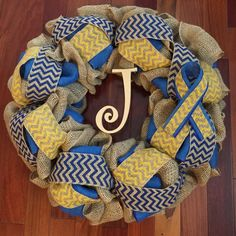 Down Syndrome Awareness Wreath - Burlap, Chevron, Initial, Awareness Ribbon